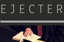 Ejecter logo and an image of hands shuffling papers